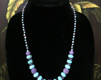 Turquoise and Purple Bead Necklace.