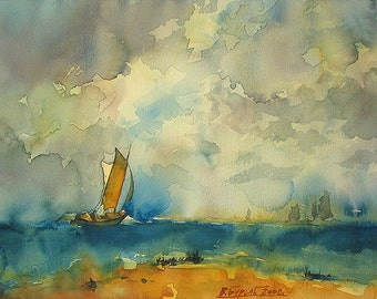 Sailboat On Sea, Cloudy Sky (Print)