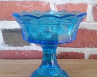 Vintage Turquoise Blue Glass Compote Pedestal Dish Footed Bowl Pressed Glass Strawberry Pattern