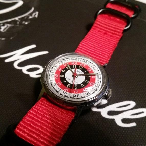 Vintage Timex Watch. Mens 1970s Watch. 24 Hour Watch. Military Style Vintage Watch. Roulette Design Watch. Timex Watch. Red Nato Strap Watch