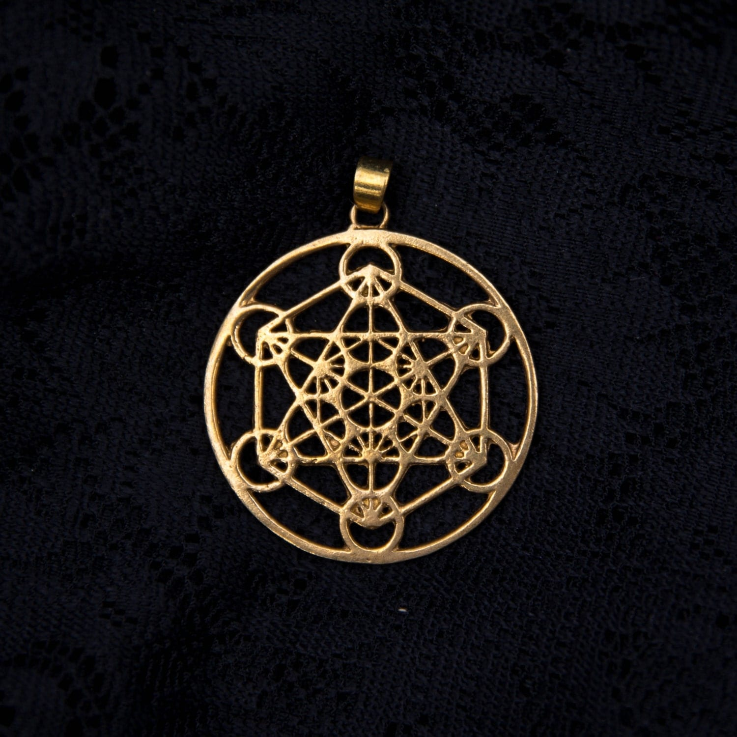 Metatrons cube brass pendant charm necklace sacred geometry for Metatron s cube jewelry