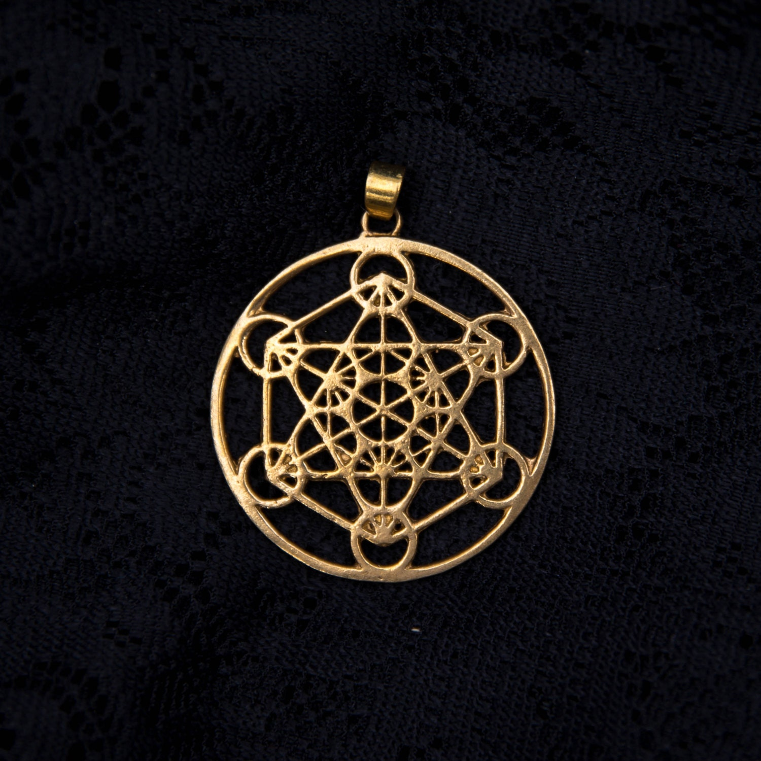 metatrons cube brass pendant charm necklace sacred geometry