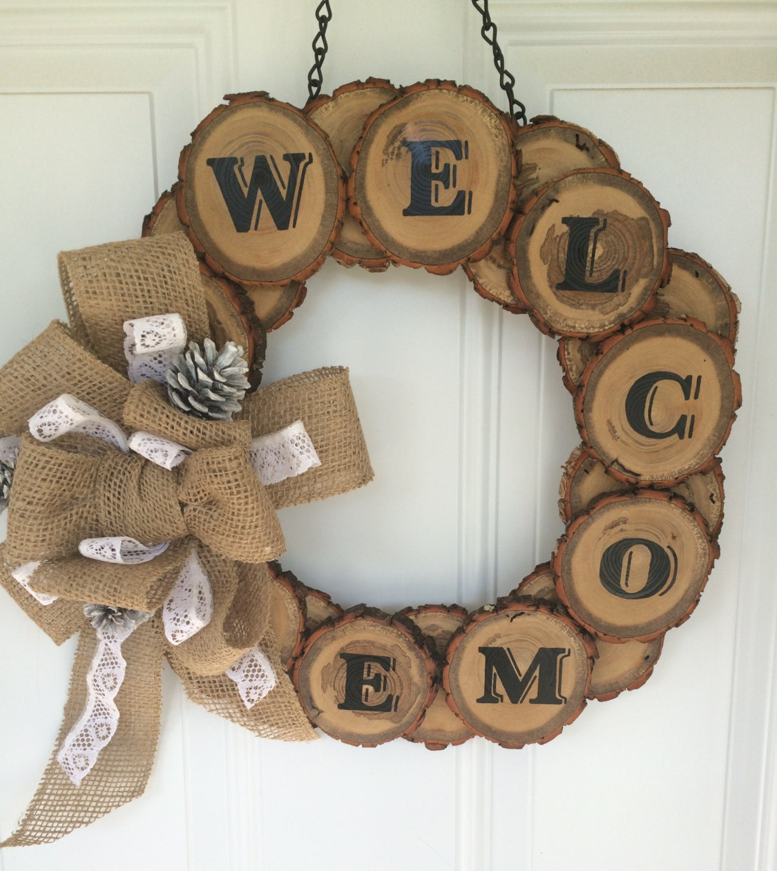 Wood slice wreath rustic welcome home decor by for Welcome home decorations