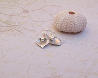 Silver Calla Lily Earrings