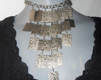 Silver Multi-Strand/Choker Hanging Square Chain Statement Necklace