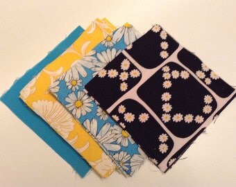 48 black, turquoise, yellow, daisy mix 6 inch quilt squares (6-048-04)
