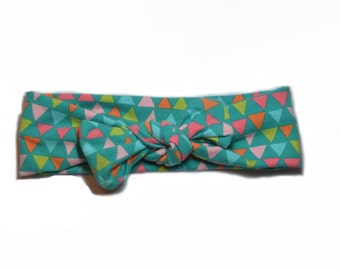 Triangle Teal Topknot Headband (One Size Fits Most, 12 months-adult, ask for infant size)