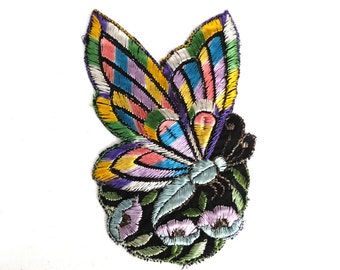 Antique Applique, butterfly applique, 1930s vintage embroidered applique. Vintage floral patch, sewing supply. #646GCEK16