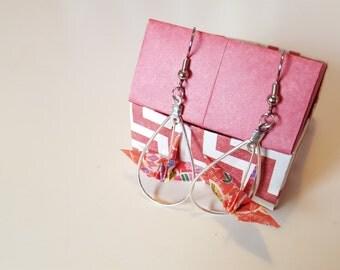 Origami Crane Earring in Tear Drop
