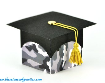 Military graduation grey camouflage favor boxes; Set of 10 boxes