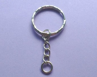 "10 Key Chain Rings Silver 53mm (2-1/8"" ) with Chain- KC2098"