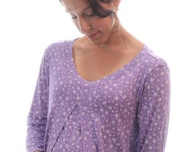 Maternity Nightgown | Maternity Night Shirt | Purple Floral Maternity Pajamas | Breastfeeding Nightie | Night Gown for Pregnancy