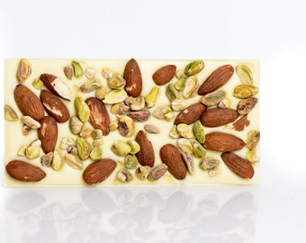 Pistachio and almond white chocolate bar, white chocolate tablet, white chocolate with pistachio and almonds, fine chocolate, chocolate tabl