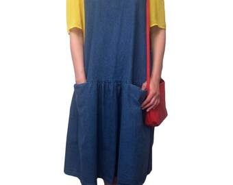 Oversized Denim Pocket Jumper Dress