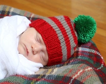 Christmas Knit Hat, Striped Baby Beanie, Newborn Pom Pom Hat, First Christmas Outfit, Baby Holiday Hat, Infant Winter Hat, Red and Green Hat