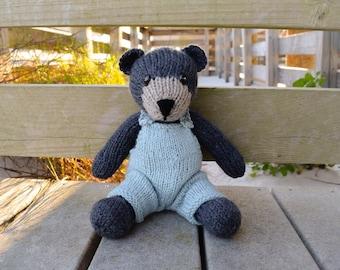Bear Stuffed Animal, Knit Bear, Stuffed Bear, Bear in Overalls, Wool Toy, Teddy Bear Doll, Handmade Toy, Baby Gift, Plush Bear, Kids Toy