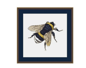 2 for 1 SALE! - Bumblebee Cross Stitch Pattern, Counted Cross Stitch Chart, Instant Digital Download, Embroidery Pattern (P-062)