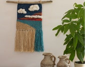Wall Hanging Weaving // Handwoven tapestry, textile, wall art, beach sky clouds sunset