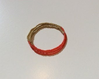Coral and gold seed bead bracelets