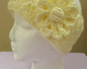 Off-White/Cream Ear Warmers with Flower | Winter Ear warmers | Earmuffs | Earmuffs with flower embellishment