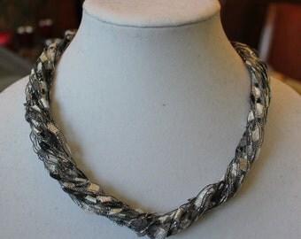 Ribbon Trellis Yarn Crochet Necklace Black and Silver
