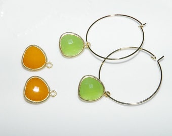Interchangeable Gold Hoop Earrings Peridot Green And Sunny Orange Gemstone Charms 2 Pair Gemstone Earrings Charm Earrings Gemstone Jewelry