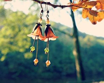 Topaz Earrings - Flower Earrings - Floral Earrings - Autumn Earrings - Brown Earrings - Dangle Drop Earrings - Fall Wedding - Autumn Jewelry