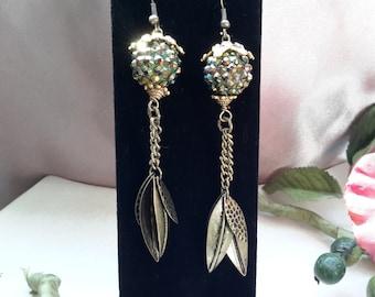 Leaves and glitz dangle earrings