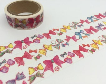 Ribbon washi tape 5M colorful ribbon tape ribbon deco sticker tape girl bows ribbon decor  japanese masking tape removable adhesive tape