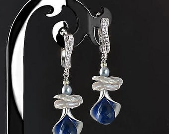 Blue Dangle Stone Earrings with Blue Spinel, Natural Pearls and Keishi Pearls / 8 clasp types for your choice