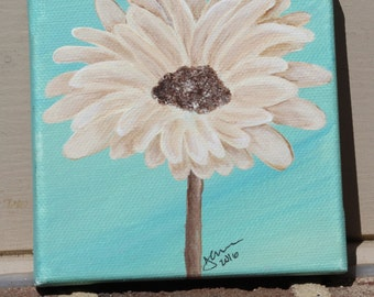 Cream Gerbera Daisy on Teal: Original Acrylic Painting on Stretched Canvas, 4x4 inches