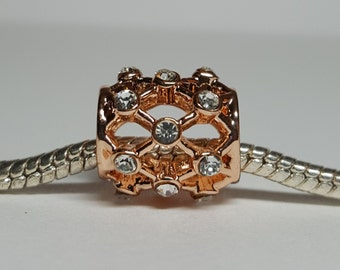 Rose Gold with Clear Rhinestones Charm for European Bracelets (item 231)