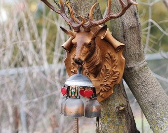 Mounted Stag Head with Chimes Molded Plastic West Germany