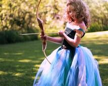 Merida Princess dress,Merida princess costume,Brave dress,Hunter green tulle dress,Disney Princess dress,Princess costume, Merida dress