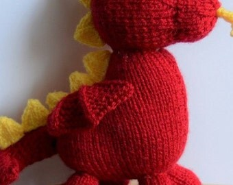 Dragon Knitting Pattern, Toy Dragon Knitting Pattern, Dave the Dragon, Knitting Pattern