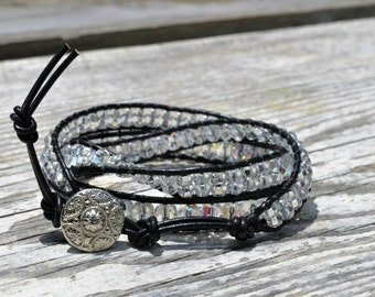 Leather wrap bracelet w/ clear irridescent beads
