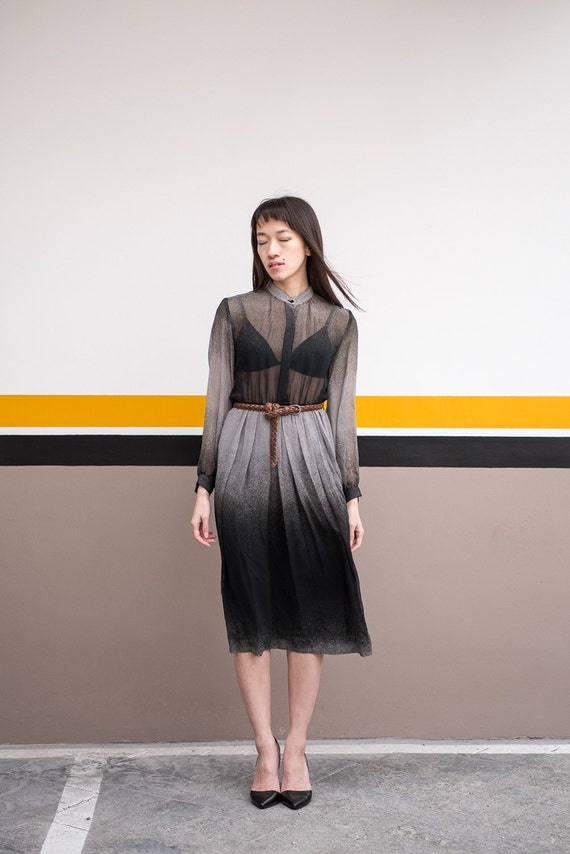 Delicately sheer Japanese black and white ombre one-piece