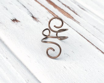 Brass boho ring, simple midi rings, mid finger ring bohemian wire ring unique women pinky ring casual ring boho jewelry shop adjustable ring