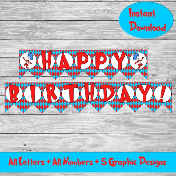 Cat Birthday Banner: Dr Seuss Banner Cat In The Hat Birthday Banner By