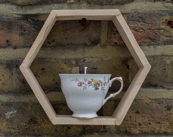 Upcycled wooden hexagon shelf