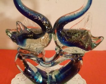 Blown Glass Statue of Swans in Love