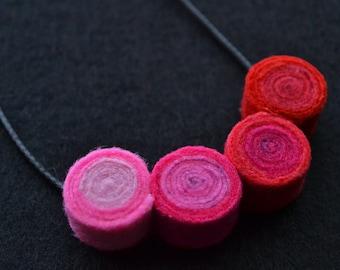 Pendant necklace handmade felt spirals circles color red rose