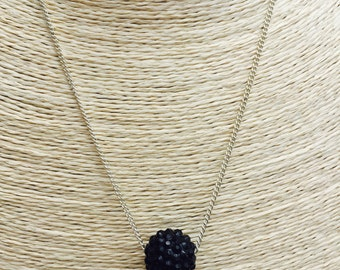 Black disco ball necklace on silver chain