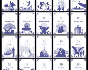 Disney-themed Table Numbers (Set of 20) - Digital/Self-Print