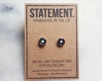 80s/90s Old Fashioned Vinyl Record Stud Earrings - 1 pair