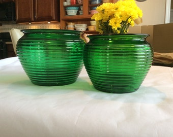Vintage green glass vases, set of 2