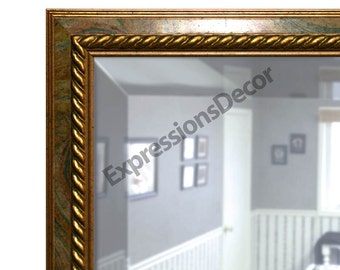 Custom Multi-Color Swirl Wall Mirror w/ Gold Rope Decoration - Beveled Glass - FREE SHIPPING