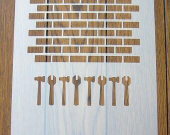 Brick Wall Stencil Mask Reusable Mylar Sheet for Arts & Crafts