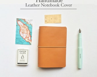 Handmade Leather Traveler's Notebook Cover / Midori style notebook cover/ BROWN Color / Passport size / Leather Journal