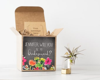 Will You Be My Bridesmaid Gift, Personalized Maid of Honor Gift, Flower Girl Gift, Succulent Wedding Favor, Gold Dipped Air Plant Crystal